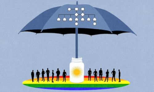 umbrella, medicine bottle, rainbow, illustration